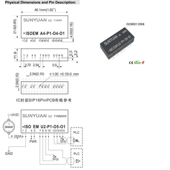 China DC Current/Voltage Single Input Dual Output Isolated