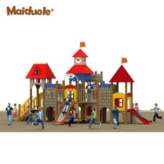 Castle Customized Children Outdoor Playground, Kis Cabin Climbing Net with Stainless Steel Slide