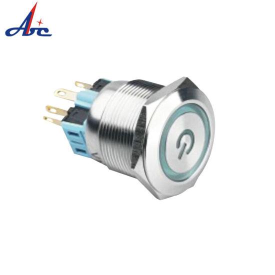 28mm Ring LED Power Symbol Illuminated Pushbutton Switch