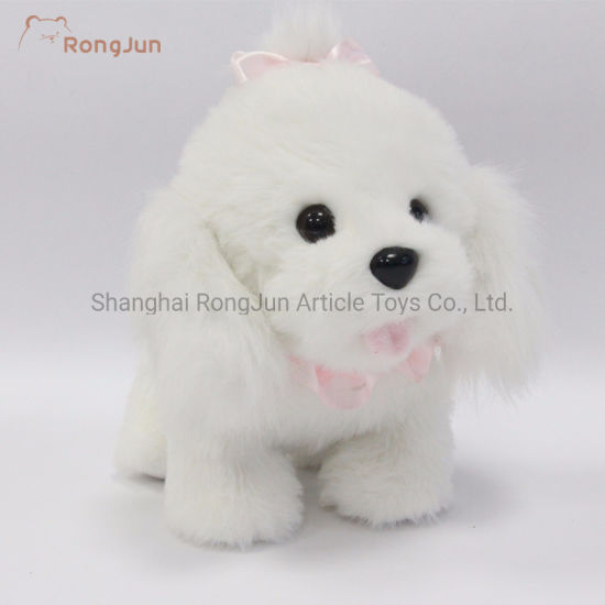 White Color Small Sitting Dog Plush Toys pictures & photos