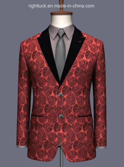 Fashion Slim Fit Korean Jacquard Tr Fabric Men`S Blazer Jacket Tuxedo Pants Vest Uniform OEM Cmt Order