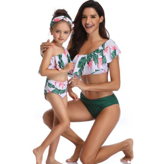 Lotus Print Mother Daughter Swimwear Mommy and Me Ruffle Bikini Bathing Swimsuit Beachwear