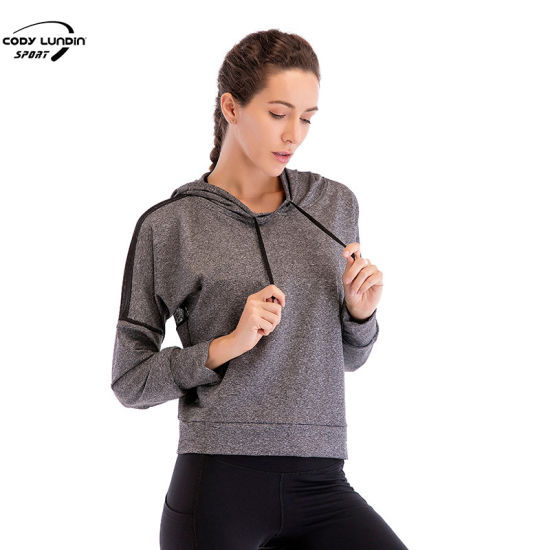 Cody Lundin Organic Hoodie Women's Breathable Mesh Cloth Patchwork Back Pullover Hoodie for Women