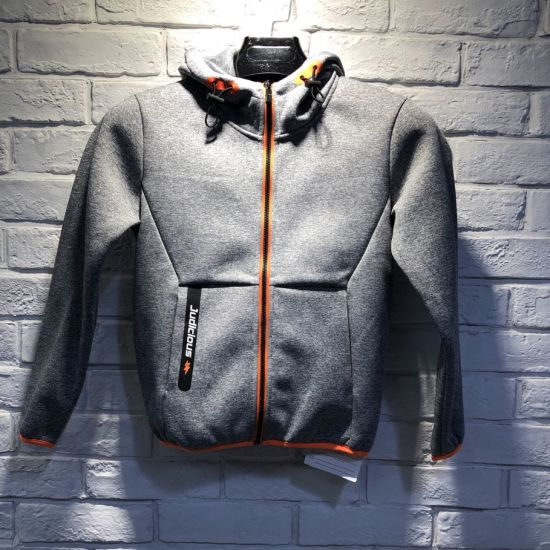 Polyester/Tc/CVC/Cotton Made Knitted Hoodie Jacket for Boys pictures & photos