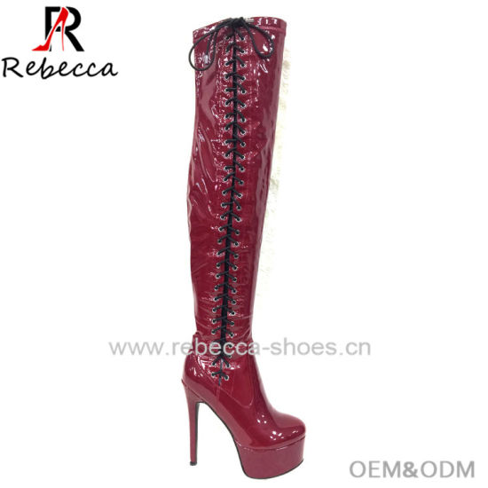 OEM Lady Long Knee Boots Leather Lace up Handmade Stilettos Platform Shoes for Wholesale