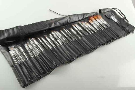 Tie Strap Imitation Leather Roll Bag 30PC Wood Handle Aluminum Tube Nylon Hair Makeup Brush Set