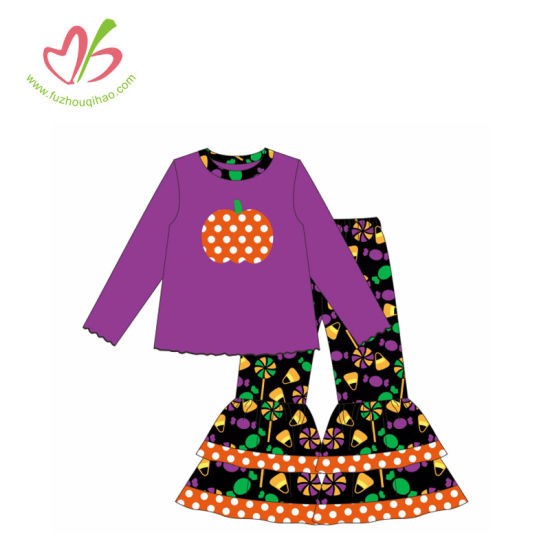 Halloween Printing Girl Outfits with Pumpkin Applique