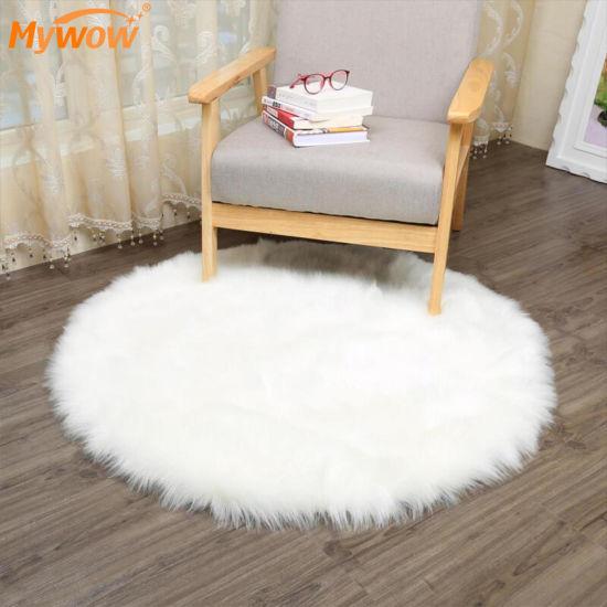 House Decoration Machine Washable Faux Wool Plush Rug Bedroom Carpets Fluffy Rugs Fur Carpet Mats