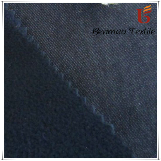 Denim Fabric Bonded with Polar Fleece pictures & photos