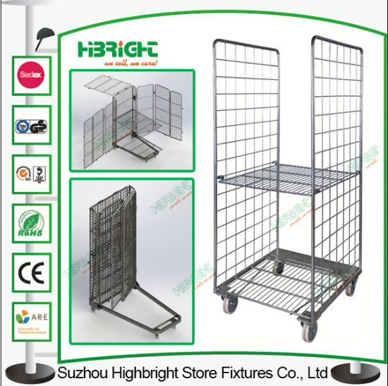 Milk Trolley Foldable Warehouse Cage Roll Container Trolley pictures & photos