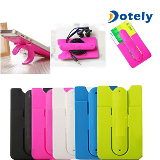 Silicone Stick Credit Card Holder Slot Stand Shell Case For Smart Phone