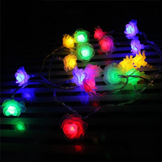 Outdoor Solar String Lights 50 LED Rose Flower Waterproof Fairy Garden  Outdoor Wedding Christmas Decorative Lights