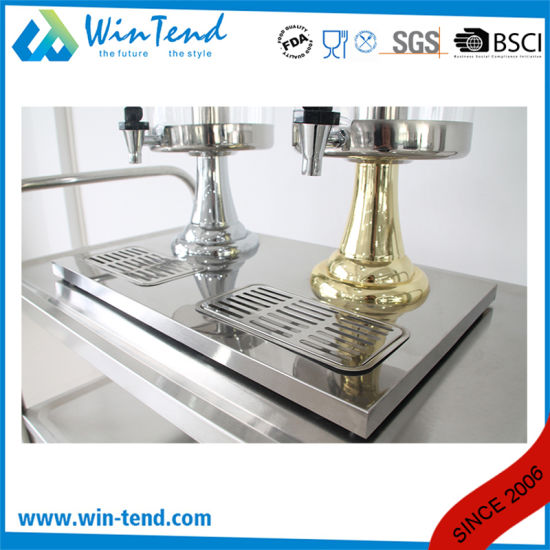 Commercial Gold-Pained Portable Plastic Double Heads Cold Orange Juice Dispenser pictures & photos