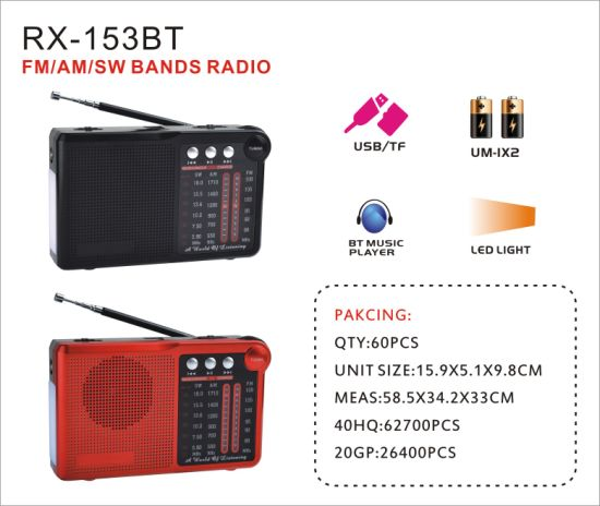FM/Am/Sw 3 Bands Portable Radio With USB/TF/Rechargeable Music Player