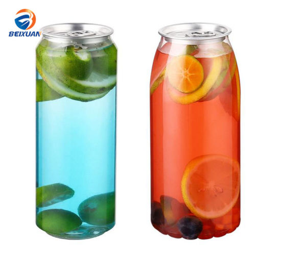 #202 350ml Plastic Easy Open Can Clear Plastic Bottle with a Pull Tab Aluminum Top with Sealing Machine