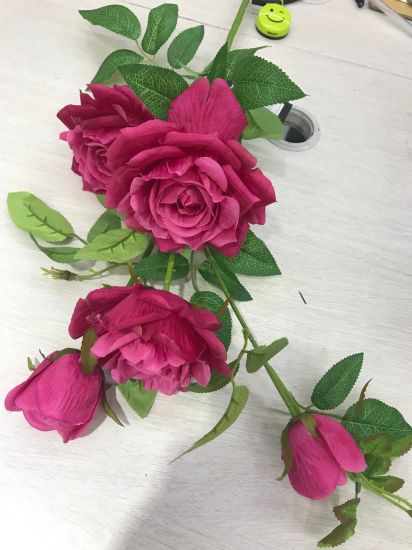 China Real Touch Artificial Rose Flowers Bouquets For Wedding Home