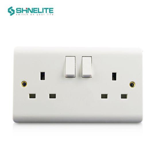 Bakelite Plate 2 Gang 13A Electric Switch Socket