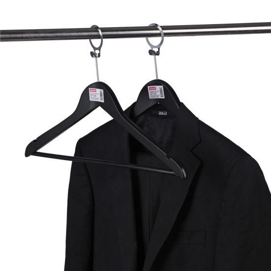 Custom Black Wooden Hotel Hanger with Anti-Theft Hook