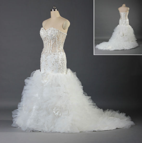New Luxury Strapless Mermaid Wedding Gown Ruffle Organza Long Bridal Dress W037