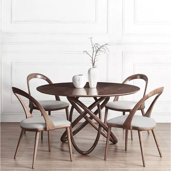 Family Wooden Round Dining Table, Round Dinner Table Set