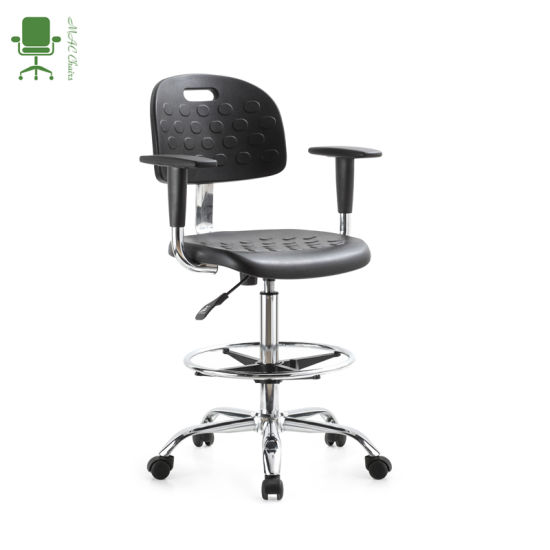 Adjustable Stainless Steel Polyurethane PU ESD School Lab Stool Industrial Chairs with Armrest