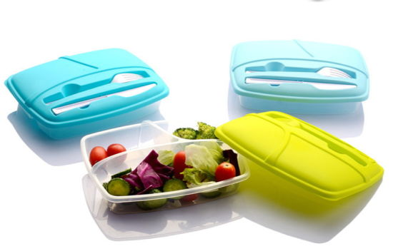 Healthy Lunch Salad Shaker Reusable Plastic Container with Fork and Knife, 4-Cup Capacity