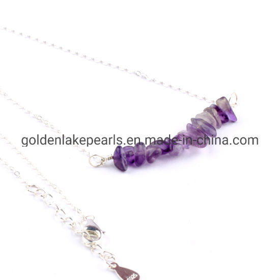 925 Sterling Silver Necklace with Natural Gemstone Amethyst Chips Pendant