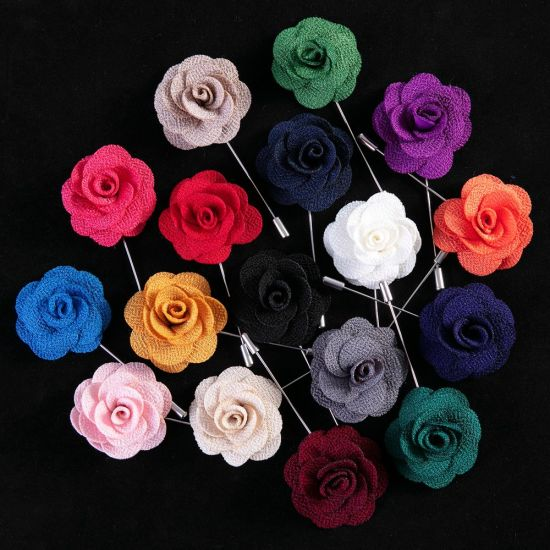 Soloid Color Flower Lapel Pin Casual Fashion Handmade Suit Boutonniere Stick Brooches
