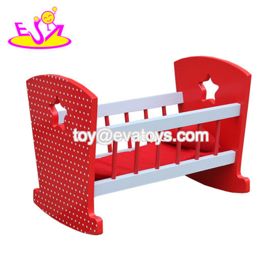 China New Hottest Red Wooden Baby Doll Crib Set For Doll W06b058