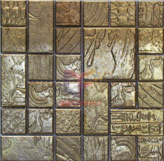 China Gold Color Laxury Egypt Pattern Ceramic Mosaic Tiles (CST092 ...
