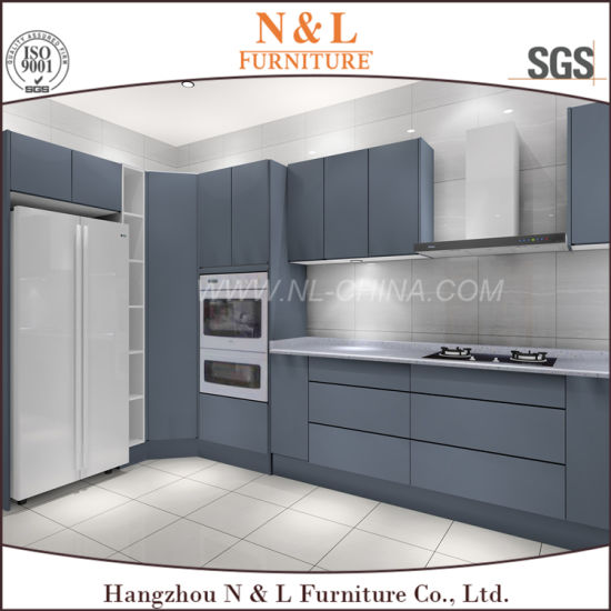 White Grey Lacquer Handle Less Design Polyurethane Kitchen Furniture