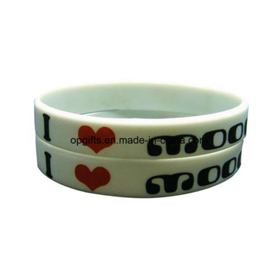 Customized Promotional Gift Printed or Deboss Silicone Wristband (WD05)