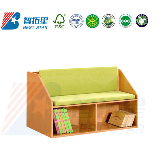 Children Playground and Reading Area Sofa Seat, Preschool and Kindergarten Day Care Furniture, Kids Nursery Furniture, Baby Room Wood Sofa with Storage