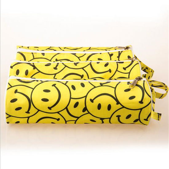 Yellow Smiley Face Pencil Bag Cylindrical Stationery Bag Circular Cylinder  (GB#LL)