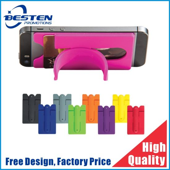 Mobile Phone Stand Silicone Card Holder with 3m Sticker Adhesive