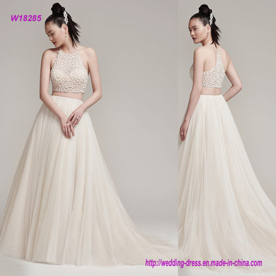 Full Tulle A-Line Zipper Closure Wedding Dress with Sophisticated Bead Encrusted