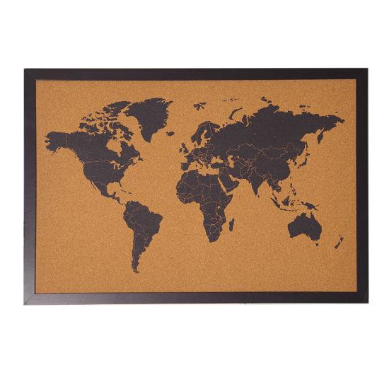 [Hot Item] 30*40cm Black Wooden Frame World Map Bulletin Corkboard