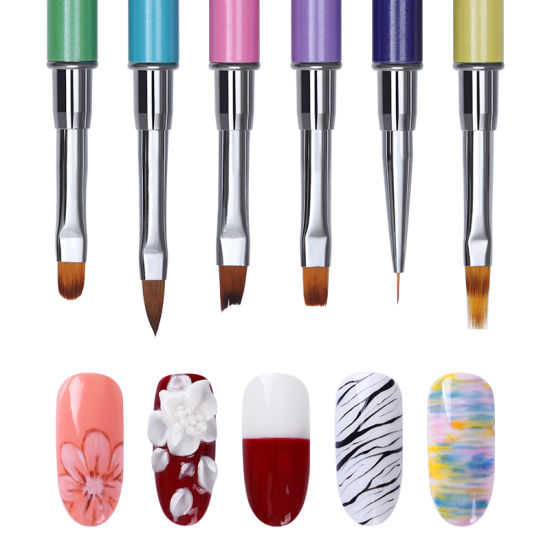 Dual Ended Acrylic Painting Pen Spatula Tool Liner Drawing UV Gel Brush Manicure Nail Art