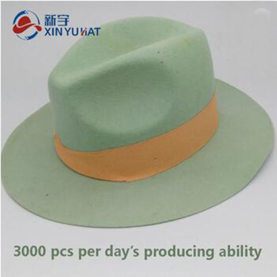 075dd396e China Wide Brim Light Green Wool Felt Fedora Hat with Orange Ribbon ...