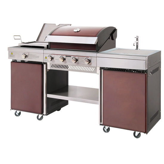 Color Outdoor Use Gas Barbecue Kitchen with Sink