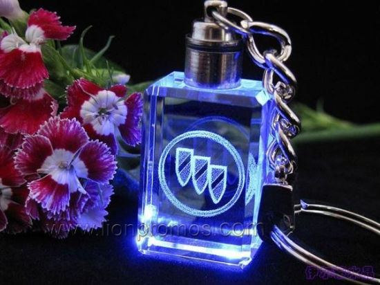 Car Marketing Promotional Gift Logo Inner Laser Engraved Crystal Keychain pictures & photos