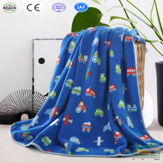 Car Printing Coral Fleece Fabric Baby Blanket for Bed Sofa Travel