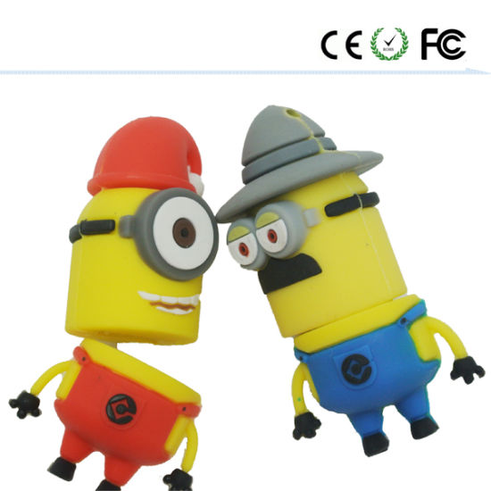 Minions Design PVC Material Customzied Logo USB Pendrive USB2.0 pictures & photos