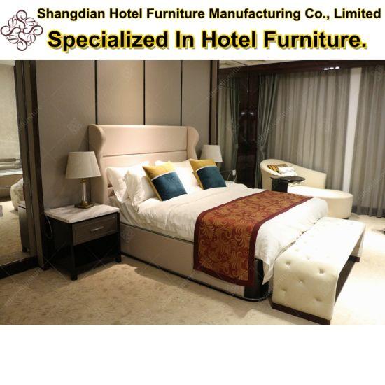 2018 Luxury Design Oak Wooden Hotel Bed Room Furniture (KL B03)