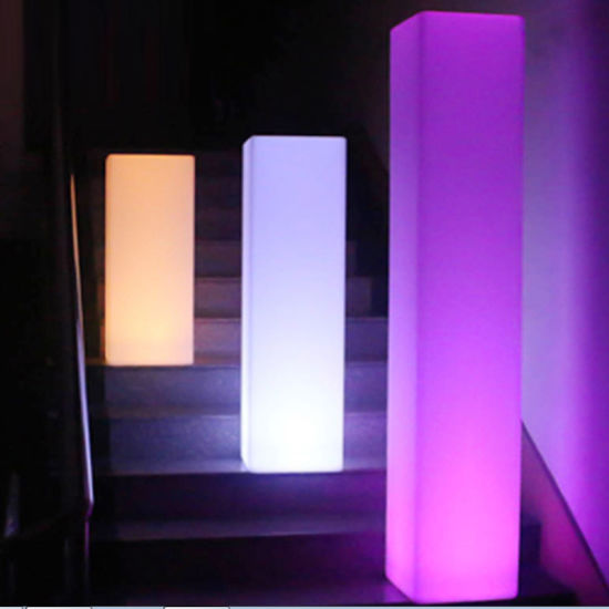 Plastic Garden Furniture LED Pillar Light for Outdoor Party Lighting