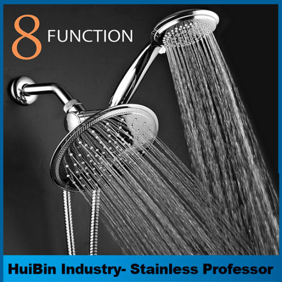 Premium Chrome High Pressure Rainfall 2 In 1 Shower Head /Handheld Shower  Combo Combines With 3 Way Diverter And 5 Feet Stainless Steel Hose