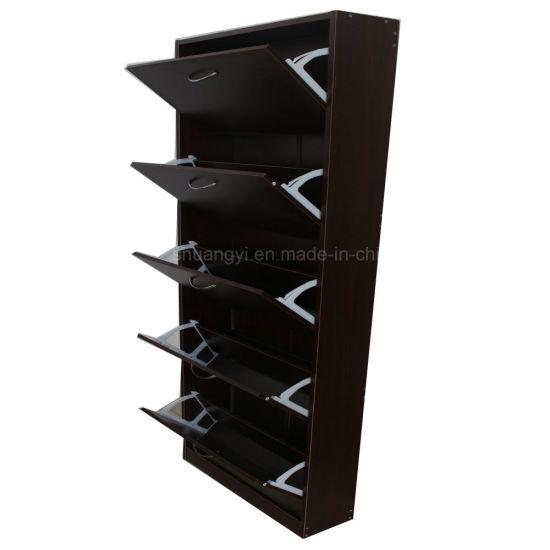 Hallway Furniture Wooden Shoe Cabinet With 5 Drawer Storage