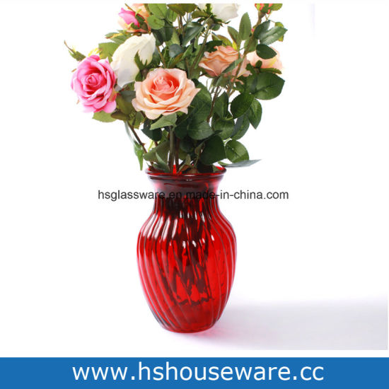 China Diagonals Style Red Glass Vase China Glass Vase Vase
