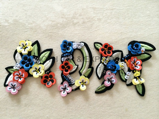 Clothing Decoration Handmade Colourful Letter String Beads Sequin Patch Accessories pictures & photos