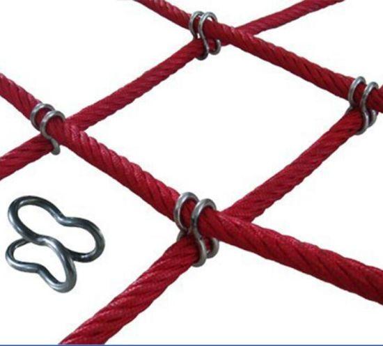 Children Outdoor Playground Climbing Rope Net with Stainless Steel U Hook